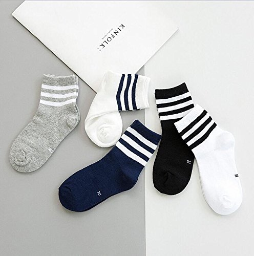 XIU*RONG Kinder Socken, Baumwolle Socken, 3-5 -7-9 - 10 Jahre Alten Jungen, Mädchen, Große Kinder Deodorant Socken, Schweiß Schwarze Und Weiße Socken, 6-8 Jahre 15-18 Cm, Student Socken 5 Paar