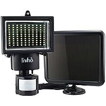 LIVHÒ | Foco solar 100 LED Impermeable + panel fotovoltaico, Batería integrada. Luz solar con 3 modos: Sensor de movimiento, de Luz, Duración de iluminación