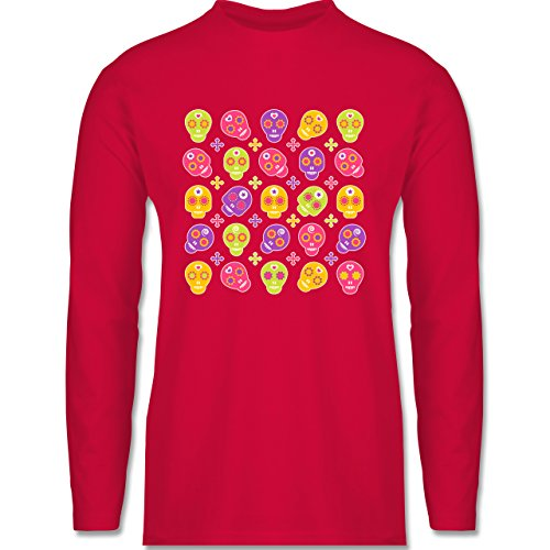 Shirtracer Rockabilly - Candy Skull - Herren Langarmshirt Rot