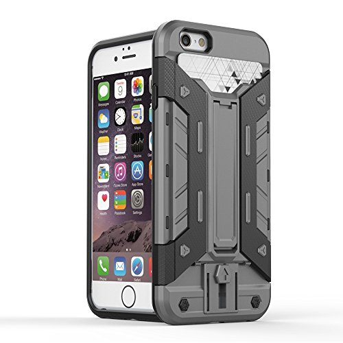 IPHONE 7 Coque,EVERGREENBUYING [Robot-Armor] léger 2 en 1 iPhone7 Cases [Metal Slate] Housse Etui Premium Kickstand Bumper Hard Shell Back Coque Case Pour iPhone 7 4.7 inch Gris Gris