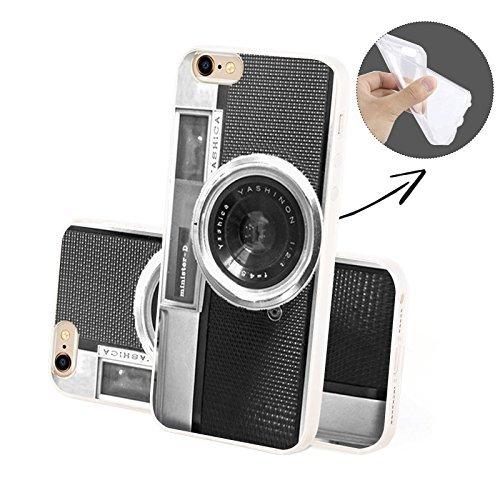 FINOO Handyhuelle Trasparente Silicone Motivo 2 - Targa TPU, iPhone 6/6S Camera TPU