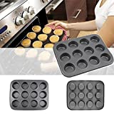 Ruon DealsTM 12 Slot Round shape Aluminum Muffin Cupcake Mould Case Bakeware Pan Tray Mould Maker Mold Tray Baking Cup Liner Baking Molds