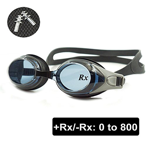 EnzoDate optische Brille Hyperopie RX + 1 bis + 8 Myopie - 1 bis-8 Erwachsene Kinder unterschiedliche Stärken für jedes Auge Schwimmen(Kraft: +2,Schwarz)