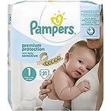 Pampers Premium Protection New Baby Sensitive Größe 1 (Neugeborene) 2-5 kg Tragepack, 4er Pack (4 x 21 Stück)