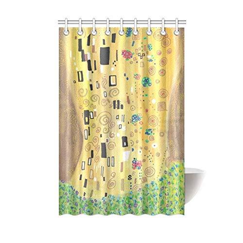 """KOLATREE Oro Astratto Tenda Doccia Inspired by Gustav Klimt, Il Bacio Arte artistici Tenda da Doccia per Bagno 48\""""(w) X 72\""""(h)[120cm X 180cm]"""