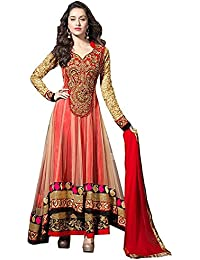 Globalia Creation Womens & Girls Net Orange & Red Party Wear Long Gown (GOL-088965_Orange_Red_Long Gown_Semi-Stitched)