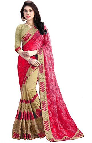 Laxmi Fashion Women's Faux Georgette Saree With Blouse Piece (2131, Pink, Free...