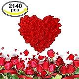 CSDSTORE Rosenblüten Rote Rosenblätter 2140 Stück Künstliche Seiden Blumenblätter Seidenblumen Streudeko für Hochzeit Party Valentinstag Heiratsantrag Streublumen Tischdeko
