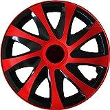 (Farbe und Größe wählbar) 16 Zoll Radzierblenden DRACO (Schwarz-Rot) passend für fast alle Fahrzeugtypen – universell