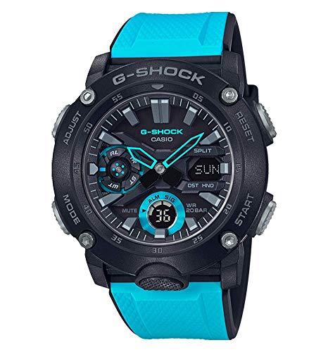Casio G-Shock Analog-Digital Herrenarmbanduhr GA-2000 blau schwarz, Carbon, 20 BAR