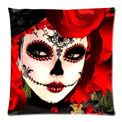 yestore-custom-cotton-dia-de-los-muertos-suger-skull-18x18-inch-pillow-cushion-cases