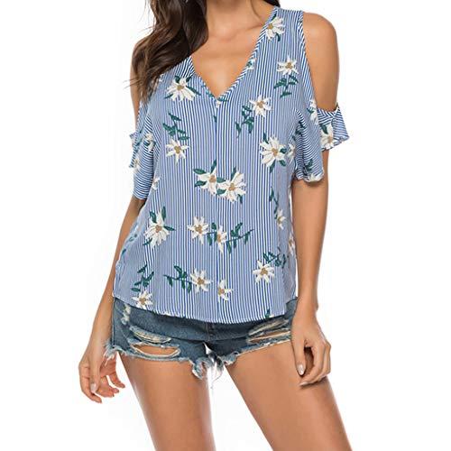 Qmber Ostern Damen Frühling Sommer Tailliertes T-Shirt Basic Kurzarm Casual Lose Shirt Oversize Oberteile Sexy Damenoberteile Lose trägerlose blau gestreifte Baumwollbinde/Blue,XL -