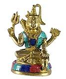 Craftspark Shiva ji Shivshankar Mahadev Bholenath Religious Gift Brass Metal Antique Stone Multi Colour Idol/ Statue/ Murti /Showpiece For Home Decor for Mandir / Temple Dimension: 14cm x 12cm x 6cm Weight 835gm
