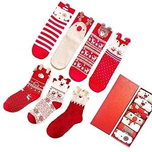 LIKERAINY Ragazze Donna Calzini Cotone di Natale Caldo Inverno Confortevole Animale 3D Calza 7 Paia 5 spesavip