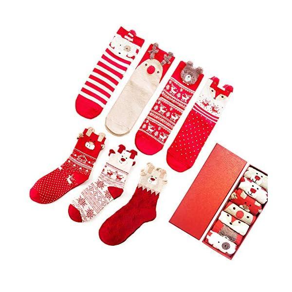 LIKERAINY Ragazze Donna Calzini Cotone di Natale Caldo Inverno Confortevole Animale 3D Calza 7 Paia 1 spesavip