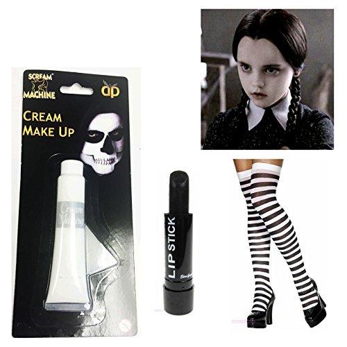 Wednesday Addams Costume Stripe Black White Socks Paint Lipstick Halloween by (Addams Wednesday Halloween Kostüm)