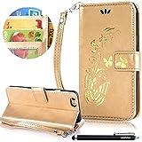 HUDDU Gold Schutzhülle Handyhülle Butterfly Muster PU Leder Tasche Slim Wallet Case Flip Hülle Kartenfach Magnetic Stand Cover für iPhone 6/6S 47 Zoll