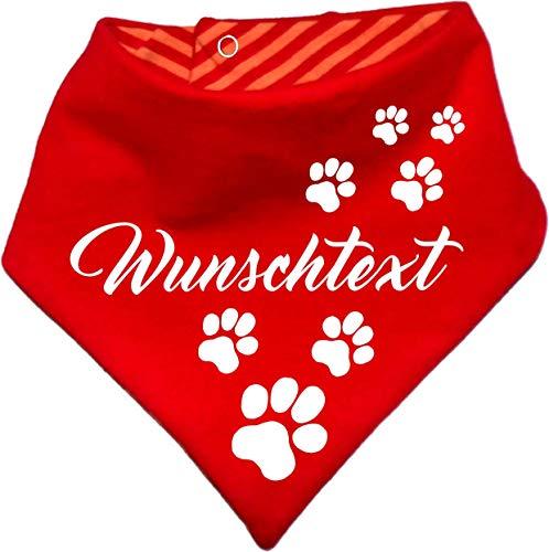 KLEINER FRATZ gestreiftes Hunde Wende- Halstuch (Fb: rot-orange) (Gr.2 - HU 31-35 cm) mit Ihrem Wunschtext (Große Für Pet-tücher Hunde)