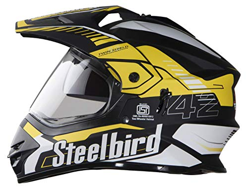 Steelbird SBH-13 7Wings Airborne Motocross Helmet in Glossy Finish with Plain Visor (Large 600 MM, Glossy Black/Yellow)
