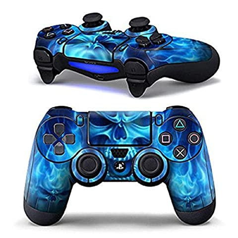 DOTBUY PS4 Vinyle Autocollant Decal Skin Sticker de Protection pour Sony Playstation 4 Manette x 1 (Blue Fire Skull)