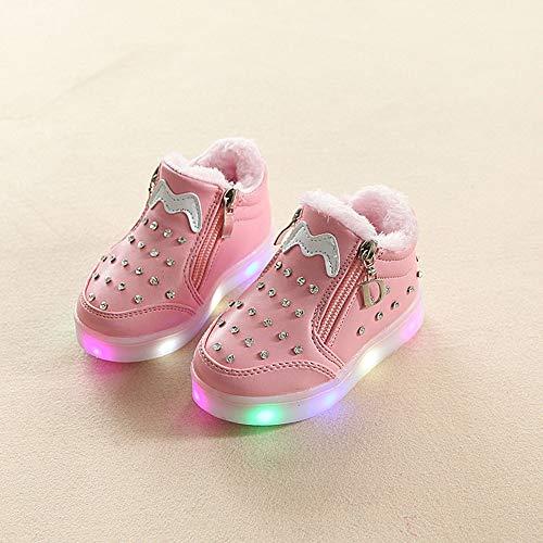 Bild von cinnamou - LED Sneaker Schuhe Kinder Baby Mädchen Zip Kristall Leucht Laufende Sportschuhe Sneaker
