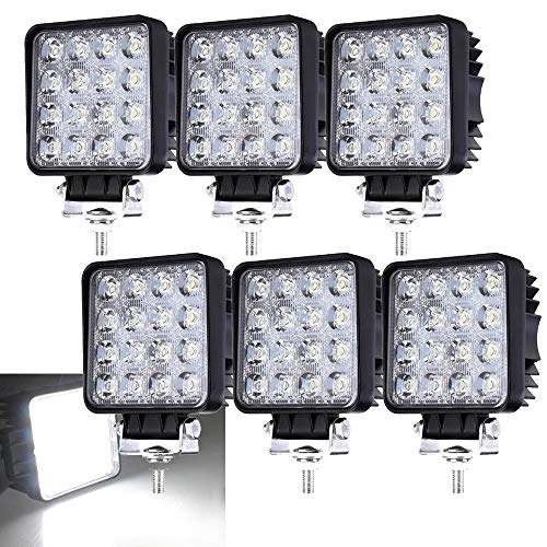 6 X LED 48W Arbeitsscheinwerfer 6500K 4320lm LED Offroad Flutlicht SUV UTV ATV Scheinwerfer Kaltweiß Rückfahrscheinwerfer