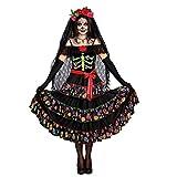 Premium Bodywear AG - Disfraz de La Catrina, disponible en las tallas de S a XL, ideal para disfrazarse en Halloween de la dama de la muerte mexicana