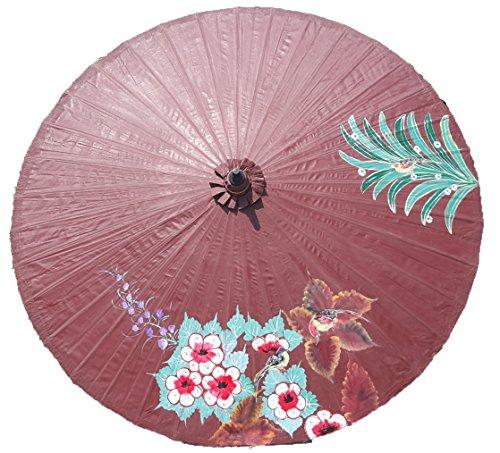 Galleria fotografica Ombrellone 250cm decorativo uccelli e fiori 100% realizzato a mano, commercio equo e solidale