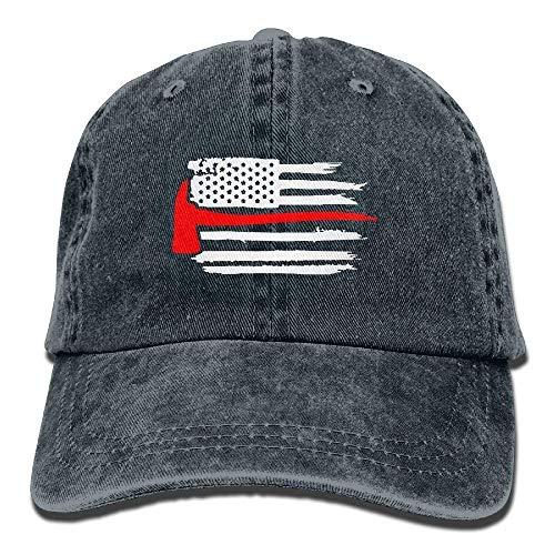 UUOnly Amerikanische Flagge dünne rote Linie Feuerwehrmann-Axt-Feuer-Vati-Hut-justierbarer Denim-Hut-Klassische (Erwachsene Rot Feuerwehrmann Hut)