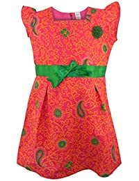 Next Pinky Red Cap Sleeve Cotton Dress with Green Satin Band