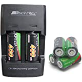 SUPEREX® 6PCS Rechargeable 3V 400mAh CR123 (CR123a) 16340 Batteries + Dual Rapid portable home travel Battery Charger for 3Volt CR123A Lithium Batteries + car charger for Digital Camera Photo Camcorder match UK Adaptor - Black