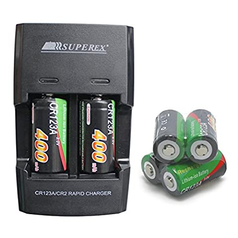 SUPEREX® 6PCS Rechargeable 3V 400mAh CR123 (CR123a) 16340 Batteries + Dual Rapid portable home travel Battery Charger for 3Volt CR123A Lithium Batteries + car charger for Digital Camera Photo Camcorder match UK Adaptor -