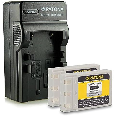 Bundle - 4in1 Caricabatteria + 2x Batteria Koncia DR-LB4 / Minolta NP500, NP600 per Konica DR-LB4 | KD-310Z | KD-400Z | KD-410Z | KD-420Z | KD-500Z | KD-510Z | KD-520 | Minolta Dimage G400 | G500 | G530 | G600 | Praktica EXAKTA DC 4200 | Concord Eye-Q 4342z | Fujitsu-Siemens CX 431 | Rollei dt4000 | Prego DP4000