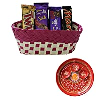 SFU E Com Holi Chocolate Basket Hamper   Holi Special Chocolate Gift   Premium Chocolate Hamper   Holi Pooja Thali   Pack of Chocolate Box-1   242