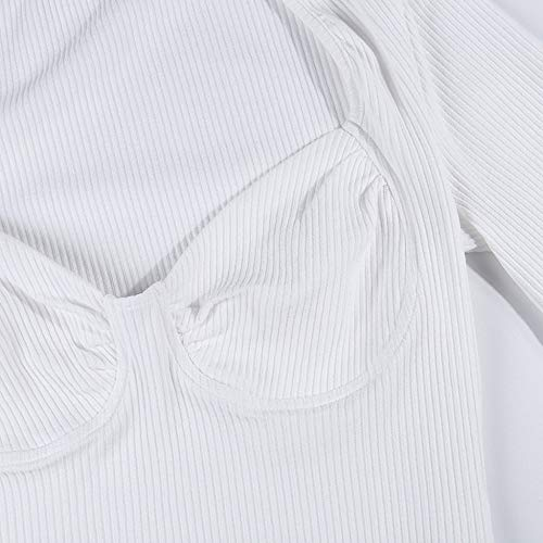 FIRSS-BH Damen Bodysuit Kurzarm Bodys Tops Rompers Perspektive Jumpsuit Overalls Rundhals Playsuit Elegant Strampler Basic Kurzarm-Body Unterwäsche Outfit Babydoll Bluse M - 6