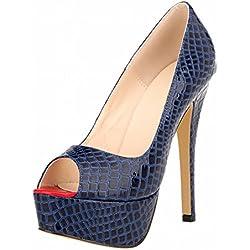 Zhuhaixmy Frau Classic Krokodil Muster Fisch Mund Super High Heels Plattform Pumpen Schuhe