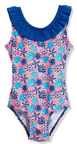 Playshoes Mädchen UV-Schutz Badeanzug Veilchen Einteiler, Mehrfarbig (LACHS 41), 122 (Herstellergröße: 122/128)
