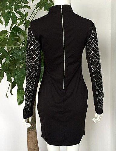 PU&PU Robe Aux femmes Moulante Vintage,Couleur Pleine Col Ras du Cou Au dessus du genou Polyester BLACK-L