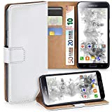 moex Samsung Galaxy S5 | Hülle Weiß mit Karten-Fach 360° Book Klapp-Hülle Handytasche Kunst-Leder Handyhülle für Samsung Gala