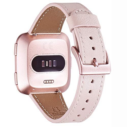 WFEAGL Kompatibel für Fitbit Versa Armband, Top Grain Lederband Ersatzband mit Edelstahl-Verschluss für Fitbit Versa Fitness Smart Watch (Rosa Sand+ Roségold Schnalle)