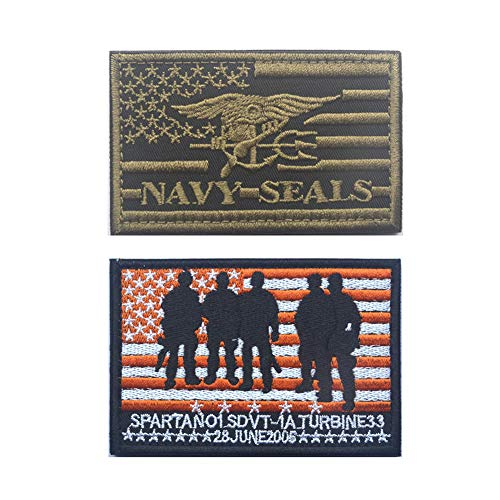 Southyu 4 Stück Texas State Lonely Star Flag Taktische Morale Patches Badge bestickt Punisher Skull Militär Emblem Haken und Schlaufe Patch 2 pieces Navy Seals patch Seal Team 2 Patch