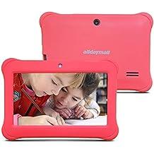 Alldaymall Tablet para niños de 7 pulgadas 8GB (Quad Core, Android 4.4, 1GB RAM, Wi-Fi, Bluetooth) Rosa con funda de silicona