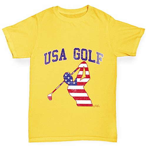TWISTED ENVY Mädchen T-Shirt USA Golf Print Age 12-14 Gelb (Distressed Shirt Golf)