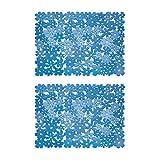 mDesign Set da 2 Tappetini per il lavandino della cucina – Tappetino protettivo in PVC – Tappetino lavello per stoviglie e posate con motivo a fiori (grande) – blu