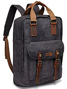 Vaschy Vintage Waxed Canvas Backpack Anti-Theft Campus Book-Bag Outdoor Recreation fits 15.6 inch Laptop (53-Grey)