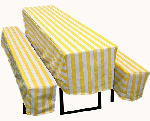 FTS Exclusiv Biertischhusse 3er Set,versch. Farben wahlweise mit 2 cm, 5 cm Polsterung oder ohne Polsterung (gelb/weiss, Ohne Polsterung)