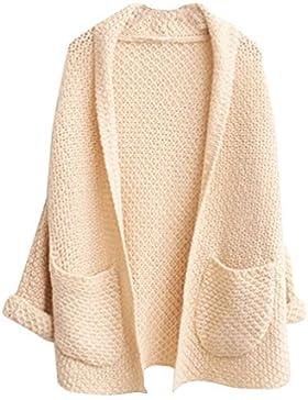 Mujer sección larga Casual espesar Suéter Flojo V Cuello grandes-bolsillos Cárdigan Beige