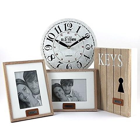 Makeke Deko Box - Flur-Dekoration - Deko-Set: Schlüsselkasten, 2 Bilderrahmen, Wanduhr (Uhrdesign Weiß / Old Town Clock)