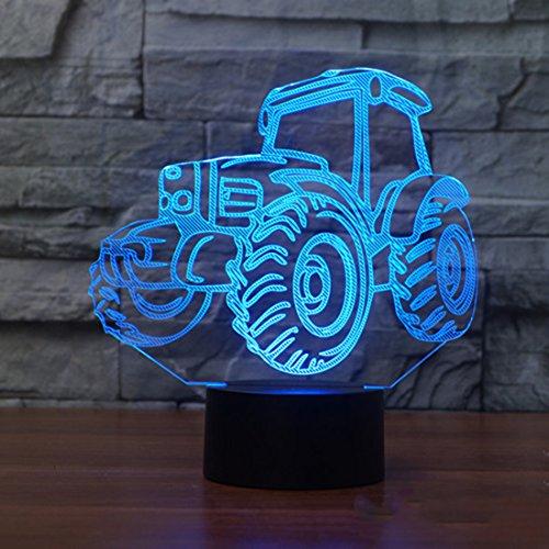 Neuheit-Traktor-3D Illusion-Schreibtisch-Lampen 7 Farben, die USB-Kabel-Noten-Schalter-Schlafzimmer geführte Nachtlichter für die Jungen-erstaunlichen Geschenke blinken (Spiel Der Illusionen)