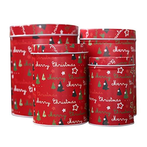 Happyyami 4 stücke weihnachtskeksdosen süßigkeiten geschenk schokolade behandeln boxen vorratsgläser behälter mit deckel weihnachtsfeier liefert (rot)